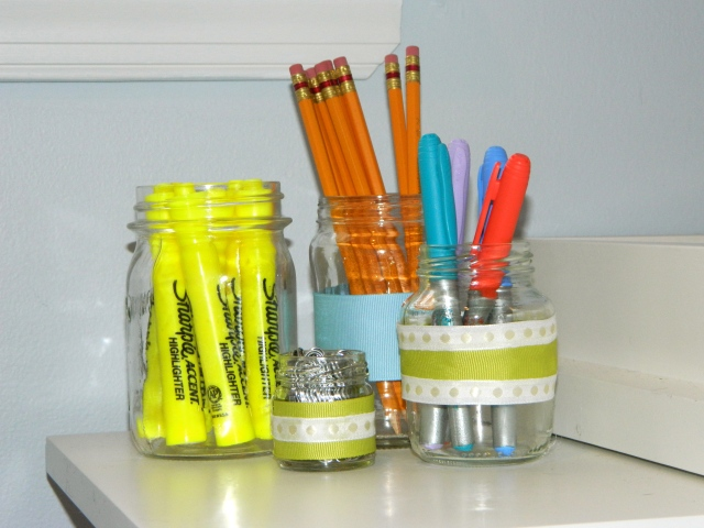 Glass Jars as DIY Office Organization