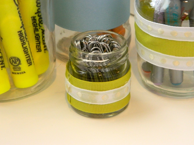 DIY Glass Jar Paper Clip Holder