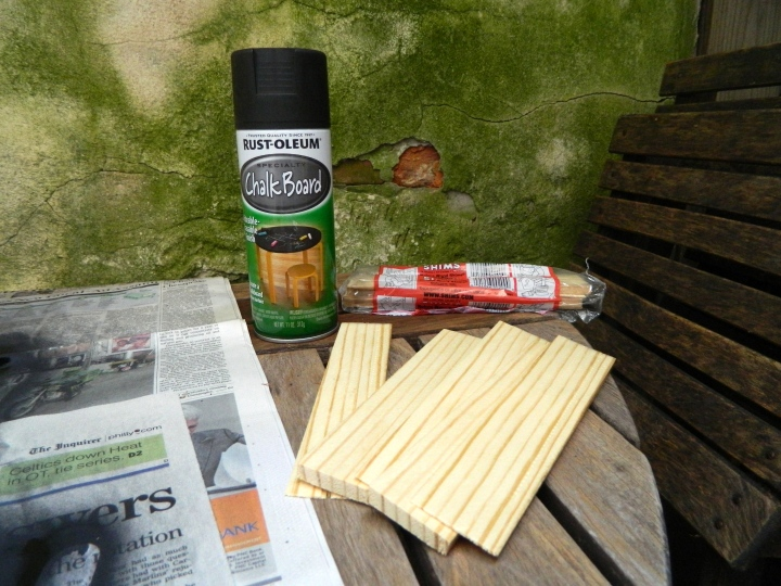 Materials for Chalkboard Herb Garden Signs
