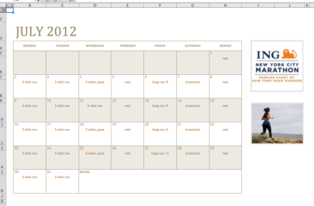2012 Marathon Training Calendar Screenshot