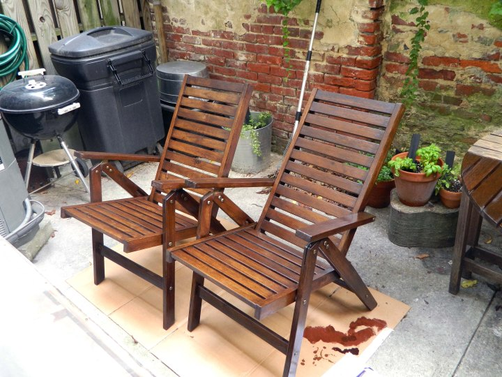 refinishing outdoor furniture both chairs stained