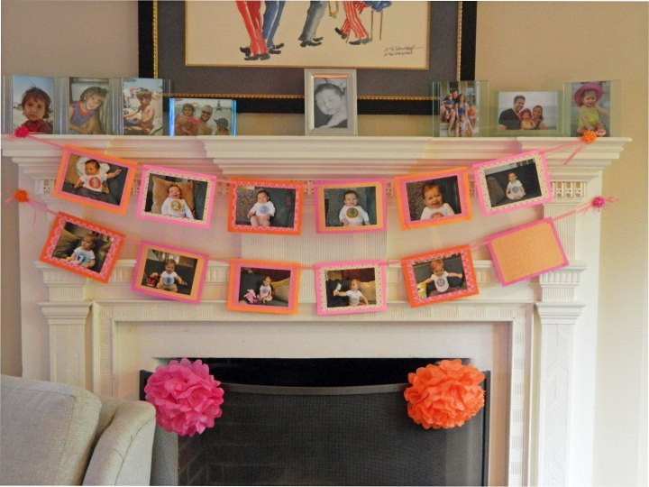 diy girls first birthday party monthly photo banner