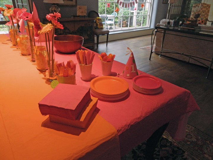 DIY-girls-first-birthday-party-pink-orange-pinwheel-decorations